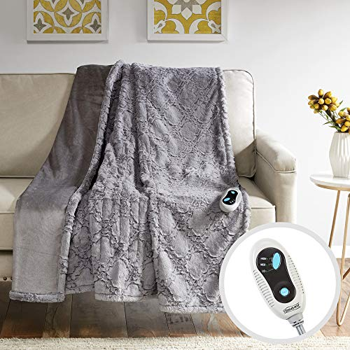 Beautyrest Brushed Long Fur Electric Throw Blanket Ogee Pattern Warm and Soft Heated Wrap with Auto Shutoff-5 Year Warranty, 50x60, Grey