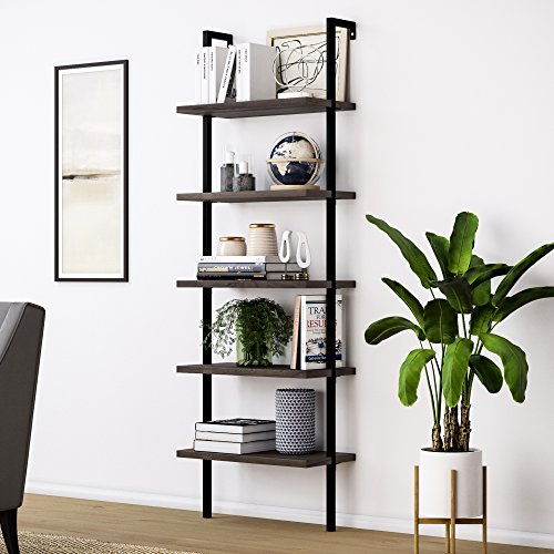Nathan James Theo 5-Shelf Wood Modern Bookcase, Open Wall Mount Ladder Bookshelf with Industrial Metal Frame, Warm...