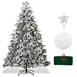 XmasExp 7.5ft Pre-Lit Snow Flocked Artificial Christmas Pine Tree Holiday Decoration with 500T Warm LED Lights, Storage Bag, Topper