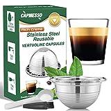 CAPMESSO Coffee Capsule, Stainless Steel Reusable Coffee Pod for Espresso Nespresso Refillable Vertuo Capsule Pod Vertuoline GCA1 and Delonghi ENV135 (2.5OZ-Double Espresso Cup(Small)