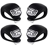 Malker Bicycle Light Front and Rear Silicone LED Bike Light Set Headlight and Taillight,Waterproof &Safety Road,Mountain Bike Light,Batteries Included(Black Silicone, 2pcs White and 2pcs red Light)