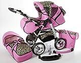 Chilly Kids iCaddy 2 en 1 Poussette Combinée (habillage pluie, moustiquaire, avec plateau pour la poussette canne, tapis à langer 49 couleurs) 15 rose & léopard