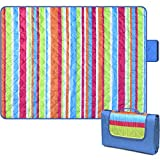 Bertte Outdoor Blanket Large Beach Camping Picnic Blanket Oversized Hiking Park Waterproof Sand Free Handy Compact Mat Durable Foldable Machine Washable Rug for Travelling, Concert, 79' x 57', Rainbow