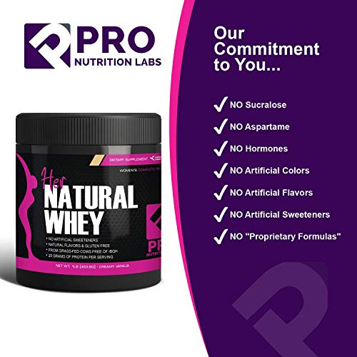 Protein Powder For Women - Her Natural Whey Protein Powder For Weight Loss & To Support Lean Muscle Mass - Low Carb - Gluten Free - rBGH Hormone Free - Naturally Sweetened with Stevia - Designed For Optimal Fat Loss (Creamy Vanilla) - Net Wt. 1 LB 6