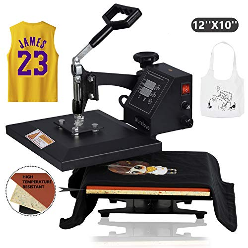 Nurxiovo Heat Press Machine 12x10 in Swing Away Digital Heat Press Sublimation Heat Transfer Machine for T-Shirt/Mouse Pad/Phone Case/Cotton/Bags/Tablecloth