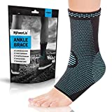 POWERLIX Ankle Brace Compression Support Sleeve (Pair) for Injury Recovery, Joint Pain and More. Plantar...
