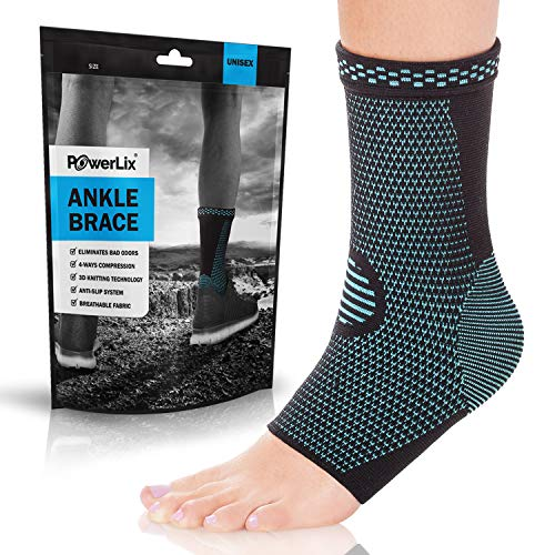 POWERLIX Ankle Brace Compression Support Sleeve (Pair) for Injury...