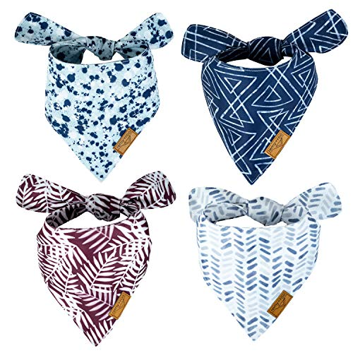 Remy+Roo Dog Bandanas - 4 Pack | Premium Durable Fabric | Unique Shape | Adjustable Fit | Multiple Sizes Offered | Classic Set (Small)