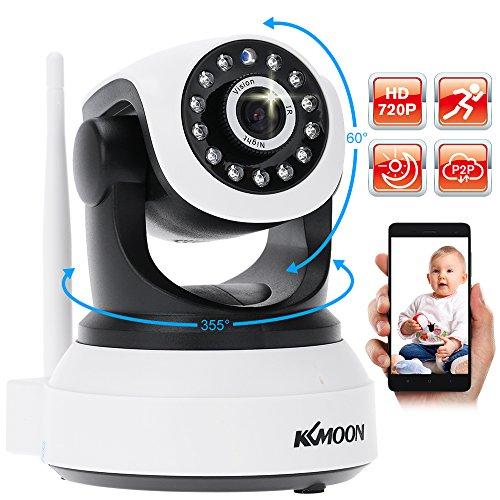 KKmoon, Telecamera WiFi Esterno, Dom Camera, Telecamera Sorveglianza, CCTV Camera Wireless 720P HD H.264 P2P 1MP AP Rete IP Network IR P/T per la Sicurezza Domestica