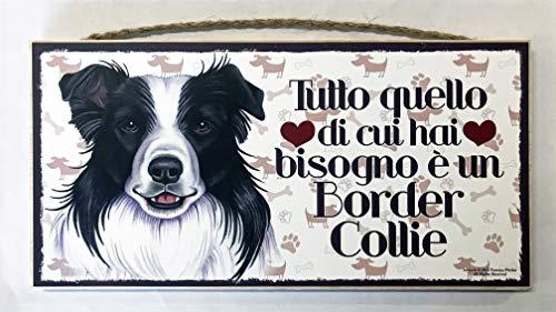 MAXIM BOLZANO SRL Border Collie targhetta in Legno da Appendere