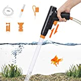 Aquarium Gravel Cleaner, New Quick Water Changer with Air-Pressing Button Fish Tank Sand Cleaner Kit Aquarium Siphon Vacuum Cleaner with Water Hose Controller Clamp