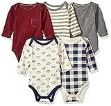 Hudson Baby Unisex Baby Cotton Long-sleeve Bodysuits, Burgundy Football, 3-6 Months US