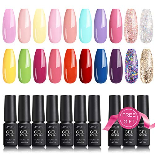 LILYCUTE 23 Pcs Gel Nail Polish Kit, Spring Summer Colors Bright Neon Nude Glitter Gel Polish Set with Base and Glossy & Matte Top Coat UV Soak Off Nail Collection Manicure Nail Art Starter Kit 7ml