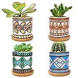 LINGSFIRE 7.5CM Macetas para Cactus de Cemento con Plato de Bamb Paquete de 4, Mini Maceteros Pequeos para Suculento Plantas Casa y Jardin Boda Decorativos Interior (A-mandala-set de 4)