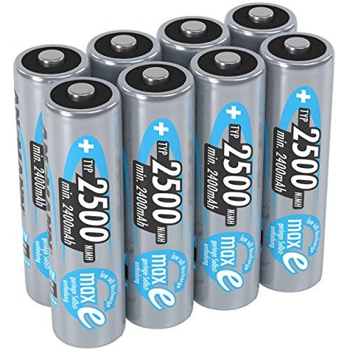 ANSMANN Akku AA Mignon 2500mAh 1,2V NiMH  - wiederaufladbare Batterien AA Akkus maxE (geringe Selbstentladung & vorgeladen) ideal für Spielzeug, Funk-Tastatur/Maus, Wii & Xbox Controller (8 Stück)