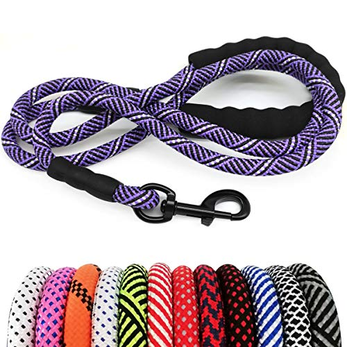 "MayPaw Heavy Duty Rope Dog Leash, 1/2"" x 6FT Nylon Pet Training Leash, Soft Padded Handle Thick Lead Leash for Large Medium Dogs (1/2"" 6', Purple Black)"