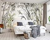 Papier Peint 3D Forêt De Bambous Peinte À La Main Papier Peint Panoramique Intissé Murales Decoration Murale