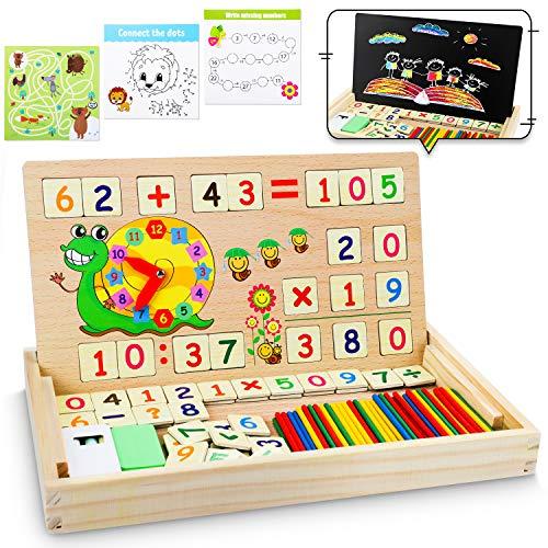 lenbest Montessori Boîte d'apprentissage de Math, Magnétique Jouets Educatifs, Scientifiques Tableau en Bois avec cartes de jeu, Jouet de Maternelle Inclus Bâtons Nombre Horloge, Parfait Cadeau Enfant