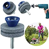 【2021 New】 Double Layer Corundum Lawn Mower Blade Sharpener, Universal Wear Lawnmower Blade Sharpener for Any Power Drill/Hand Drill, Double-Layer Grindstones Easy to Use and Not Easy Damage-(Gray)