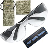 Small Kids Safety Glasses for Nerf Guns BB Gun Crossbow Range Shooting Eye Protector Nerf party Kids Rockhound Gift with Military Green Camouflage Pouch & Wipe Cloth ANSI Z87.1
