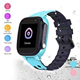 HuaWise Kids smartwatch, Anti-Lost Waterproof Smart Watch with Real-time Position Tracker,Touch Screen SOS Call Geo-Fence Camera Alarm for Boys and Girls … (Blue)