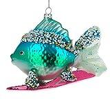 BestPysanky Blue Fish Surfing Glass Christmas Ornament