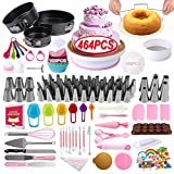 DAFONSO-2021 Upgrade 464 Pcs Cake Decorating Kit With Springform Cake Pans Set, 48 Piping Icing Tips, 6 Russian Nozzles, Cake Turntable Stand, Fondant Tools, Cake Baking Supplies Set for Beginners