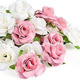 Kesote 50 pcs Fleur artificielle Tête de Rose 4cm, Rose Et Blanc Real Touch...