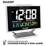 Sharp Atomic Desktop Clock with Color Display - Atomic Accuracy - Easy to Read Screen with Calendar & Day of Week Time/Date Display - Auto Set Digital Dual Alarm Clock - Perfect for Nightstand or Desk
