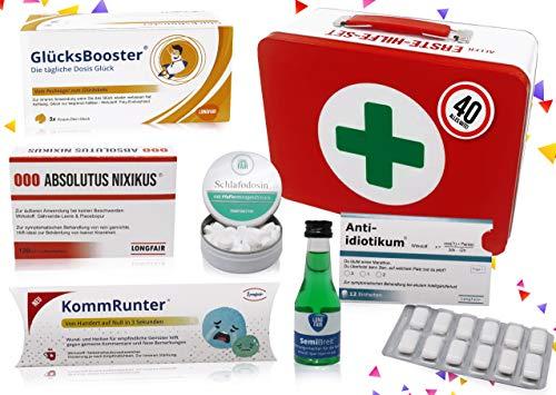 40. Geburtstag   Erste Hilfe Set Geschenk-Box, witziger Sanikasten   8-teilig   Spaßgeschenk zum 40. Geburtstag