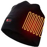 Autocastle Men Women Rechargeable Electric Warm Heated Hat Winter Battery Heat Skull Beanie (Pinstrip-Black, One Size)