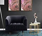 Iconic Home Julia Accent Club Chair Velvet Upholstered Channel-Quilted Button Tufted Cushion Shelter Arm Design Espresso Finish Gold Tip Wood Legs Modern Contemporary, Black