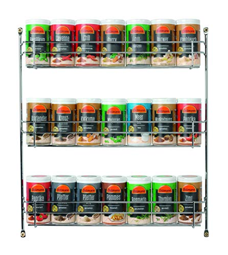 Ostmann Chrom-Gewürzregal gefüllt mit 21 Gewürzdosen Kräuter-Regal-Set Gewürz-Ständer, mit 21 feinen Gewürzen, für die Schranktür, Menge: 1 Stück