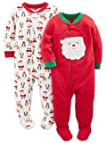 Simple Joys by Carter's Baby 2-Pack Holiday Loose Fit Flame Resistant Fleece Footed Pajamas, Ivory Santa/Red Santa, 24 Months