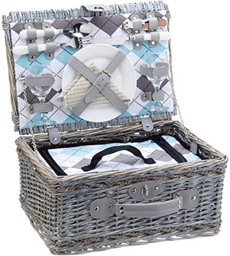 Cilio 155716 Picknick-Korb Stresa Deluxe, Stoff, olivgrün, 40x28x20