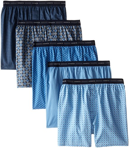 Hanes Men's 5-Pack Printed Woven Exposed Waistband Boxers, Print, X-Large (Assorted)