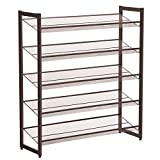 SONGMICS 5-Tier Metal Shoe Rack Adjustable to Flat or Slant Shoe Organizer Holder Stand Shelves Stackable for Entryway Bedroom Bronze ULMR05A