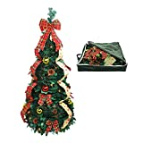 Christmas Tree Fully Decorated Dressed Pre-Lit 4 Ft Pull Up Pop Up with Storage Bag Includes Holiday Decorations, Ornaments, Pinecones, Stand and Warms Lights
