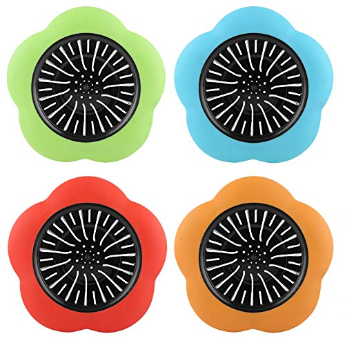 GLOGLOW Plastic Sink Strainer, 4 Pcs Plastic Flower Shaped...