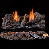 Duluth Forge Ventless Dual Fuel Set-24 in. Stacked Red Oak-T-Stat Control Gas logs, 24 Inch