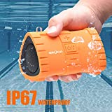 EBODA Waterproof Shower Bluetooth Speaker, Portable IP67 Floating Outdoor Speaker with 6W Crisp Sound, Built-in Mic, Hands-Free Calls, 2000mAh, 24H Playtime for Pool, Beach, Hiking, Camping- Orange