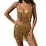 MUNAFIE Electric Music Festival Clothing for Women Carnival Halloween and Cosplay Cheerleader Costume for Women Gold,One Size