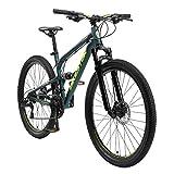 BIKESTAR Bicicleta de montaña de Aluminio Suspensión Doble Completa 27.5 Pulgadas | Cuadro 16.5' Cambio Shimano de 21 velocidades, Freno de Disco, Fully MTB | Verde