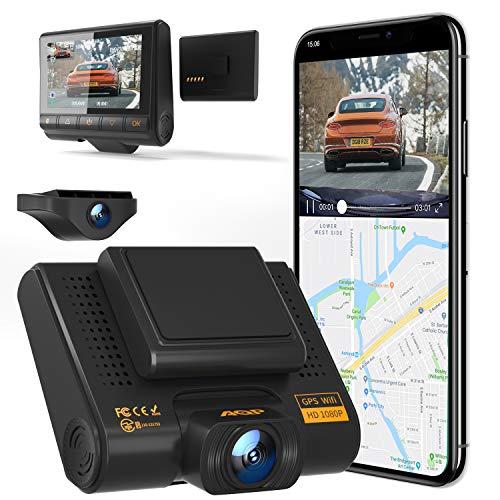 AQP Dual Dashcam Full HD 1080P Vorne und Hinten Autokamera, Dash Camera mit GPS & WiFi, G-Sensor, WDR, Loop-Aufnahm, 170 ° Weitwinkel mit Nachtsicht, Bewegungserkennung