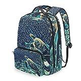 SLHFPX Women/Men Backpack Sea Turtle Coral Bookbag College School Shoulder Bag Daypack Travel Rucksack for Youth