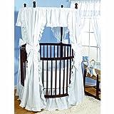 Baby Doll Bedding Carnation Eyelet Round Crib Bedding Set, White