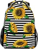 Sunflowers On Stripes Mochila Grande Personalizada iPad Tablet Travel School Bag con múltiples Bolsillos para Hombres Mujeres Universidad