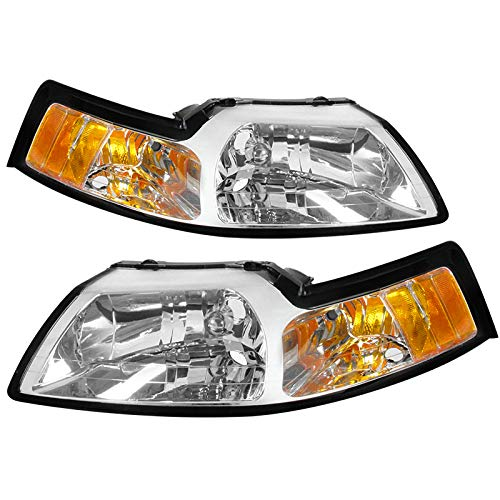 Carpartsinnovate For 99-04 Clear Driving Headlights+Corner Turn Signal Lamps