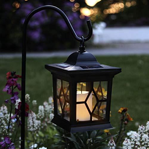 3in1 LED Solar-Laterne mit Erdspieß - Tischlampe, Pendelleuchte Solarleuchte Wegeleuchte | Kerze Gartenleuchte für Terrasse Balkon Wiese Außen Outdoor Rasen Blumenbeet Party | Akku, Batterie, IP44