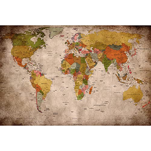 Photo Wallpaper – Retro World Map Used Look – Picture...